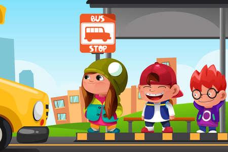 transporte escolar: Una ilustraci�n vectorial de los ni�os lindos de espera en una parada de autob�s