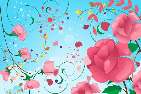 arte moderno: Una ilustraci�n vectorial de dise�o de fondo floral