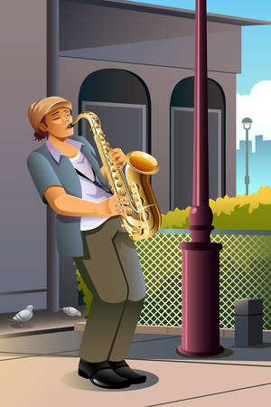 A vector illustration of man playing saxophone on the street