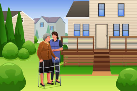 physiotherapist: A vector illustration of young lady helping elderly woman using walker