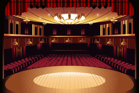 theater auditorium: A vector illustration of empty theater stage