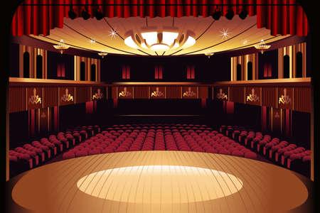 teatro: Una ilustración vectorial de escenario de teatro vacío