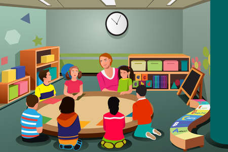 A vector illustration of students studying in class with teacher Ilustração