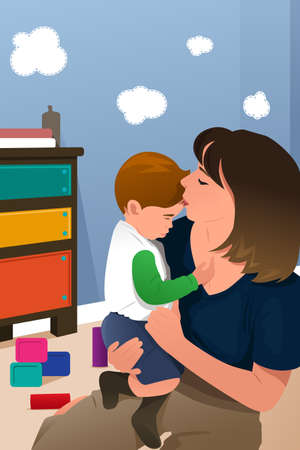 baby and mother: A vector illustration of happy mother holding her Illustration