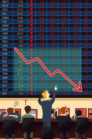 stock broker: A vector illustration of  economic crisis concept