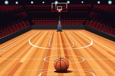A vector illustration on floor of empty basketball court