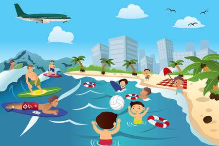 Un'illustrazione vettoriale di persone felici divertirsi sulla spiaggia