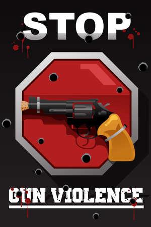 A vector illustration of stop gun violence poster design Illustration