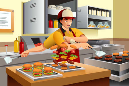 A vector illustration of man cooking burgers at a fast food restaurant kitchen