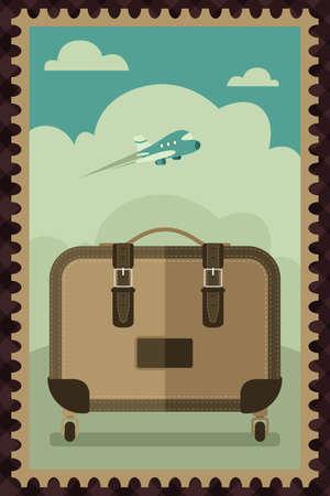 voyage vintage: Une illustration de vecteur de Voyage conception vintage d'affiche de bagages