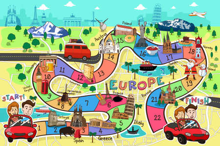 A vector illustration of Europe travel board game design Ilustração