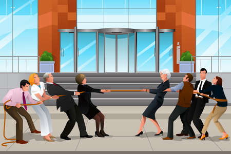 A vector illustration of business people in a tug of war for teamwork concept