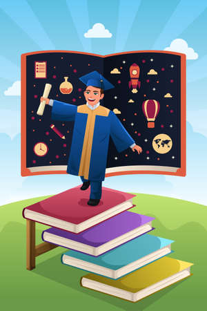 teenager boy: A vector illustration of graduation student standing on top of stack of books