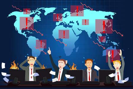 crisis: A vector illustration of global economic crisis concept