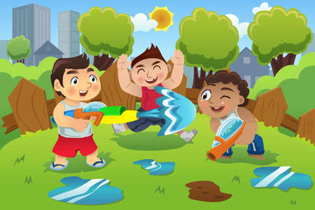 wet: A vector illustration of kids playing water gun in the summer