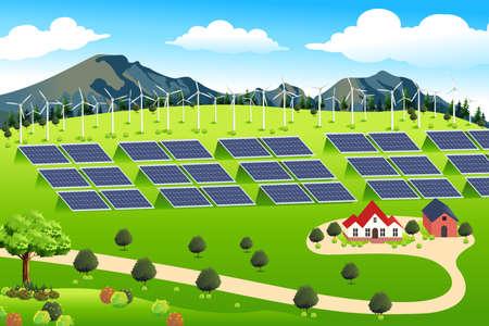 A vector illustration of wind turbines and solar panels farm Stock Illustratie