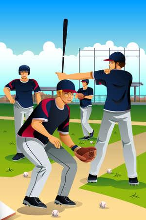 deportes caricatura: Una ilustraci�n vectorial de entrenamiento los jugadores de b�isbol en campo de b�isbol