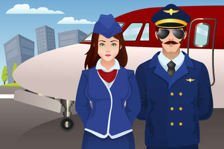 A vector illustration of pilot and flight attendant standing in front of the airplane