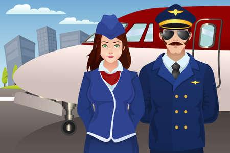 avion caricatura: Una ilustraci�n vectorial de piloto y azafata de pie delante del avi�n