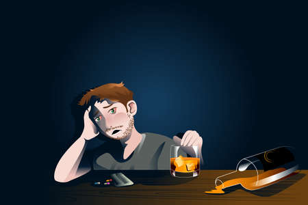 cartoon clipart: A vector illustration of drunk man with bottle of alcohol for emotional crisis concept Illustration