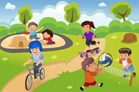 niños en bicicleta: Una ilustración vectorial de niños felices jugando en el patio de recreo