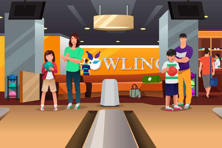 family playing: A vector illustration of happy family playing bowling together