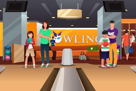 Een vector illustratie van gelukkige familie spelen bowlen bij elkaar