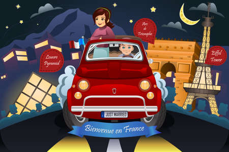 enamorados caricatura: Una ilustraci�n vectorial de la pareja feliz luna de miel a Francia