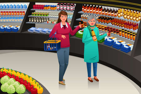 A vector illustration of a girl accompanying her grandmother going grocery shopping
