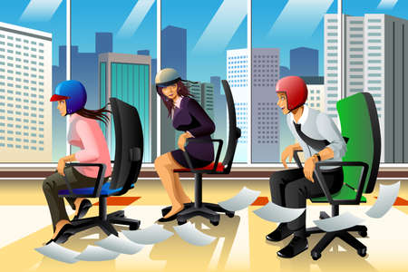 girl happy: A vector illustration of business people having a chair race for fast and speedy concept Illustration