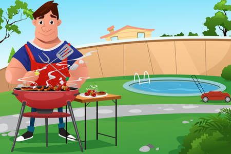A vector illustration of man cooking a BBQ in the backyard