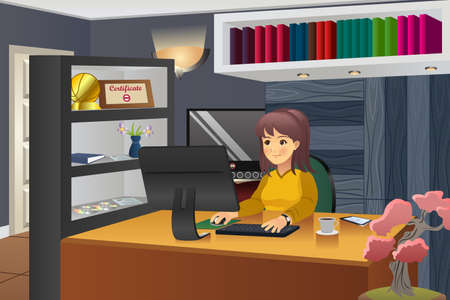 woman computer: A vector illustration of female programmer working in her home
