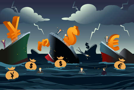 economic depression: A vector illustration of  economic crisis concept