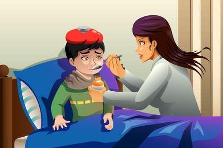 A vector illustration of sick kid taking medicine Illustration