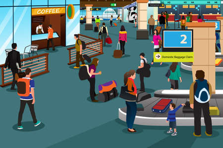 A vector illustration of people inside the airport scene
