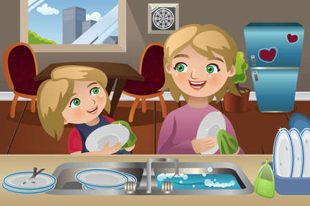 teamwork cartoon: A vector illustration of mother and her daughter washing dishes in the kitchen