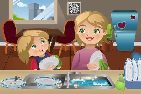 piatto: Una illustrazione vettoriale di madre e sua figlia lavare i piatti in cucina Vettoriali