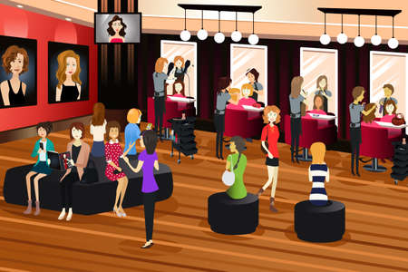cartoon hairdresser: A vector illustration of hair salon scene Illustration