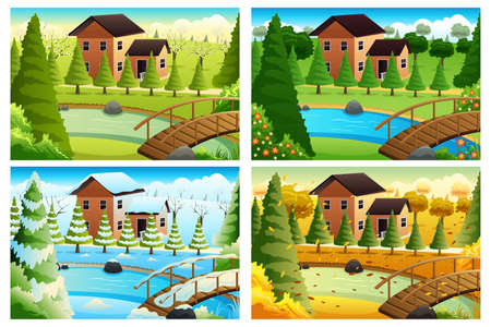 A vector illustration of village in four seasons Ilustração