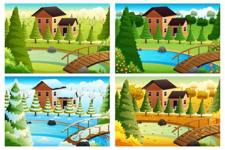 estaciones del año: Una ilustración vectorial de pueblo en cuatro estaciones