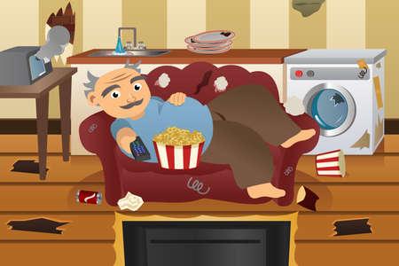 perezoso: Una ilustraci�n vectorial de perezoso y descuidado hombre viendo la televisi�n en un sof� rodeado de basura