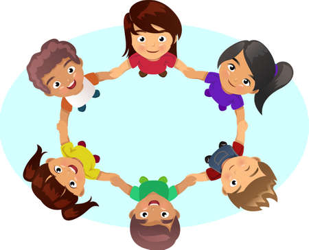 holding hands: A vector illustration of multi-ethnic group of children holding hands