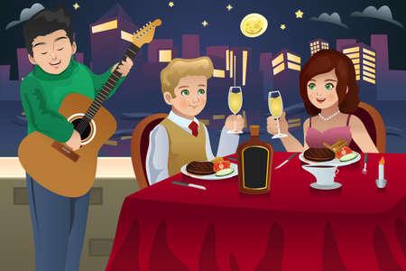 pareja comiendo: Una ilustración vectorial de una pareja feliz que cena romántica juntos