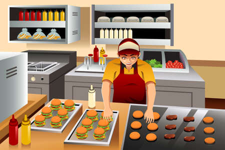 chef clipart: A vector illustration of man cooking burgers at a fast food restaurant kitchen