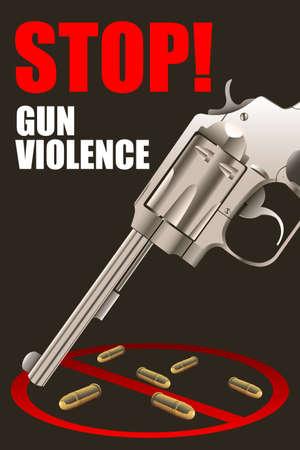 sadism: A vector illustration of stop gun violence poster design Illustration
