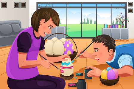 kids painting: A vector illustration of kids painting Easter eggs at home