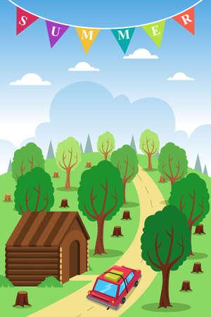 roadtrip: A vector illustration of summer poster design