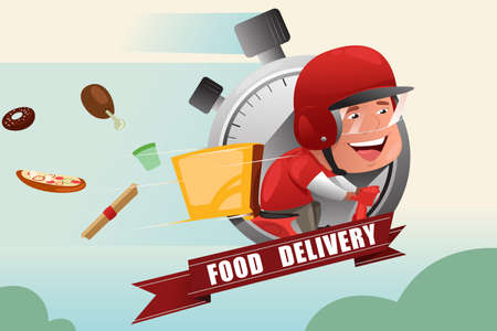 A vector illustration of food delivery service