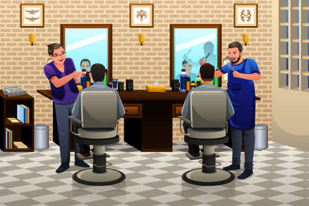 haircut: A vector illustration of people having haircut in a barber shop Illustration