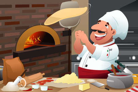 A vector illustration of Pizza chef tossing pizza dough in the air Vectores